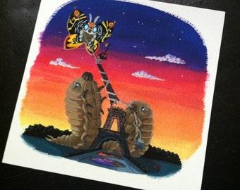 """A 'Lil Parisian Mishap - 8""""x8"""" Mothra Larve w/ Paper Kite Digital Archival Print"""