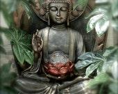 Buddha Photography, Asian Art, Green Buddha Wall Art, Meditation Art, Zen Decor,Buddha Art Print,Yoga Studio Art,Asian Decor,Yoga Art Buddah