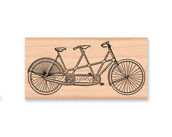 RUBBER STAMP BICYCLE for two tandem bicycle bike for two wedding or save the date engagement,large or small size,wood mounted(32-34)(32-33)