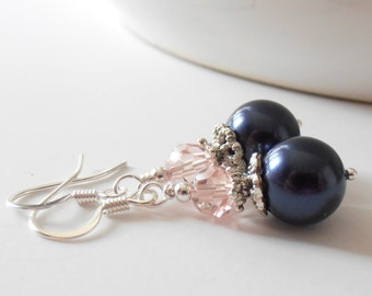 Navy blue bridesmaid jewelry, Swarovski Pearl dangle earrings with pink crystals, handmade traditional wedding jewellery, bridal party sets