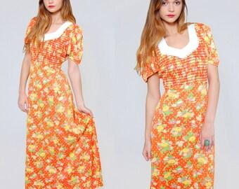SALE Vintage 70s Orange Maxi Dress Short Sleeve Floral and POLKA DOT Hippie Dress Mod Maxi Dress