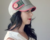 KEPP JONES ---x--- Women's newsboy hat made from reclaimed vintage fabric in 'Pamplemousse Tea' - M or L