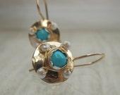 Gemstone Earrings, Turquoise Golden Dome Hook Earrings, Dangle Earrings, Birthstone Earrings, Bridal Earrings