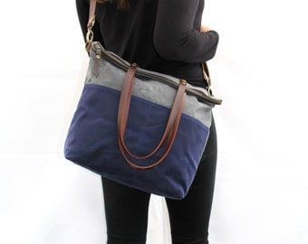 Waxed Canvas Tote in Charcoal and Navy with Exterior Pockets