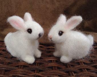 Needle Felted White Bunny Rabbit Baby