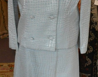 "1960's, 36"" bust, three piece iridescent line, silver/powder blue suit."