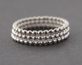Sterling Silver Rings stacking ring 3 Bubble Bead Stack Rings