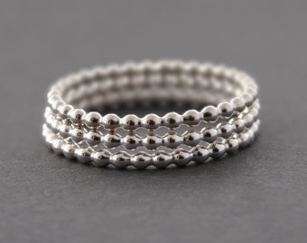 Silver Rings - Three Bead Rings - stacking ring - 3 Bubble Bead Stack Rings