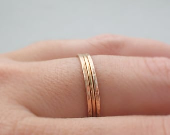 Rose Gold Rings smooth and hammered 3 stacking rings thin gold ring delicate rose gold ring band thumb ring, midi ring spring jewelry