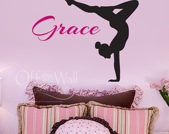 Monogram wall decal - Personalized girl name - custom decal - teen girl wall decor - gymnast decal