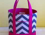 BIBLE TOTE Journaling Bible Tote Perfect Size for your Bible, Journal, Pens, Study guides. Hot Pink Canvas and Charcoal Grey Chevron