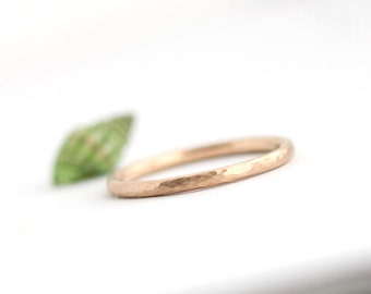 IN STOCK Lina - Handmade Solid 14k Yellow Gold Wedding Band Wedding Ring Hammered Brushed Matte Textured Size 6.5