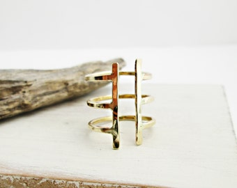 Cage Ring. Golden Brass. Hand Hammered. Open Ring. Three Band Ring. Modern. Minimal. Edgy Ring. Golden Ring. Boho. Statement.