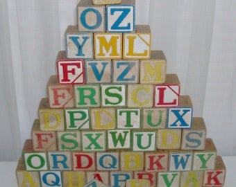 47 Wooden Alphabet Blocks