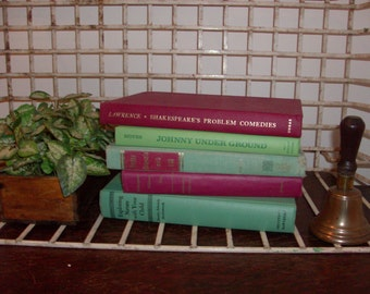 Instant Collection of 5 Bud Green and Burgundy Red Vintage and Antique Books