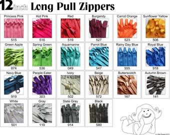 Zippers - 12 Inch 4.5 Ykk Purse Zippers with a Long Handbag Pulls Mix and Match Your Choice of 100 Zippers- New Colors Added-