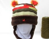 Multi Colored Wool Baby Beanie Trapper hat With Ears