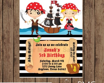 Custom Printed Pirate Birthday Invitations - 1.00 each with envelope