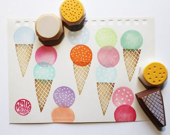 ice cream stamp set. ice cream cone hand carved rubber stamp. sweets stamp. birthday scrapbooking. summer holiday crafts. set of 4