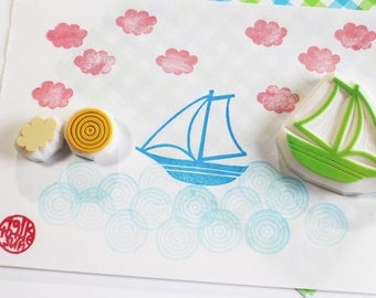 sailing boat stamps. ship hand carved rubber stamp. yacht, wave, cloud stamp. birthday scrapbooking. summer holiday crafts. set of 3