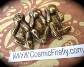 Brass Monkeys Pin Brooch Steampunk Pin Steampunk Brooch Speak See Hear No Evil Monkey Steampunk Accessories Cosplay Pin