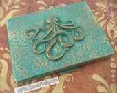 Green Octopus Case Steampunk Cigarette Case Verdigris Green Primitive Finish Antiqued Brass Metal Case Large Business Card Holder Nautical