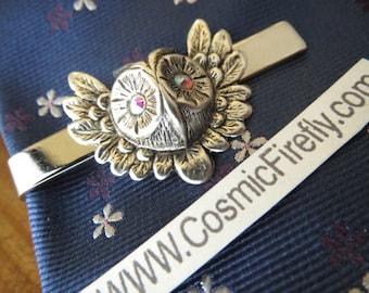 Fancy Owl Tie Clip Silver Tie Clip Vintage Style Gothic Victorian Steampunk Owl Silver Owl Sparkle Glass Crystal Eyes Men's Tie Clip