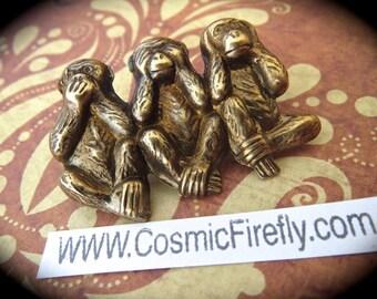 Brass Monkeys Pin Brooch Steampunk Pin Steampunk Brooch Speak See Hear No Evil Monkey Steampunk Accessories Cosplay Pin