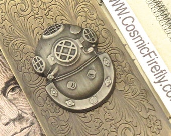 Steampunk Money Clip Diving Bell Helmet Diving Mask Nautical Steampunk Antiqued Brass Money Clip Men's Money Clip Nautical Money Clip New