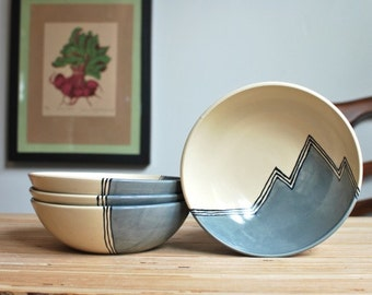 Cereal Bowls - Set of 4 in Grey Mountains MADE TO ORDER
