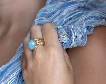 Statement Ring, Aquamarine Ring, March Birthstone, Gemstone Ring, Gold Ring, Lace Ring, Women Jewelry Ring, Nuritdesignjewelry,Free Shipping