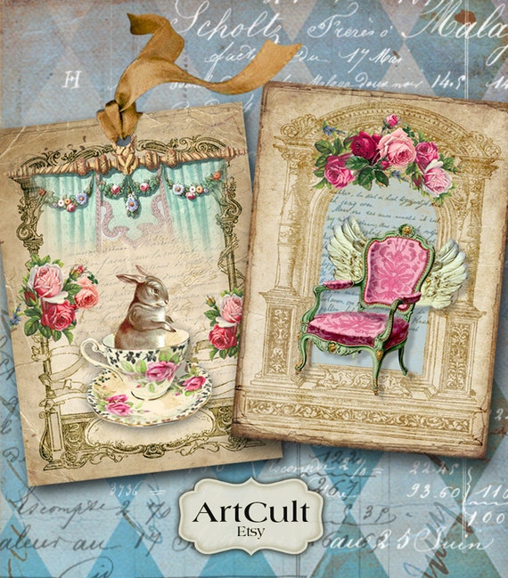 Printable download charming shabby tags digital collage