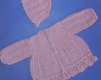 ON SALE: Beatrix Potter Jemima Puddleduck sweater set for baby girl size 6 months - cardigan and bonnet in light mulberry