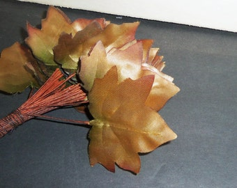 Vintage Millinery Flower Leaves Beige Brown Pink Green Ombre Satin Ivy Hat Hair Wreath Making Supplies