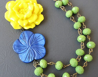 Statement Necklace Flower Necklace Bridesmaid Jewelry Green Necklace Yellow Jewelry Bib Necklace Gift For Her