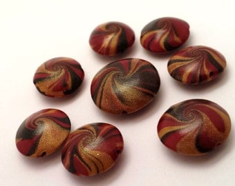 SALE 40% OFF- Handmade Polymer Clay Lentil Swirl Beads-Black, Red & Gold