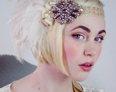 RESERVED FOR amyelizabeth819  Starlet Antique Gold And Ivory And Blush Ostrich Feather Flapper Headband