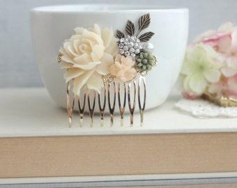 Ivory Rose Flower Comb, Peach, Green, Pearl, Rhinestone Diamante, Leaf Sprig Gold Hair Comb. Ivory Vintage Style, Bridesmaid Bridal Wedding