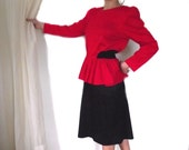 80s Dress / Vintage 80s Does 40s TF Polyester Dress /  Red Black 23 / 30 Inch Waist