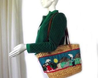 Mexican Straw Handbag 80s Straw Beach Bag Boho Over sized Ethnic Bag