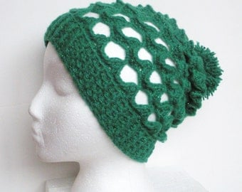 SALE, Lacey Crochet Slouch Beanie Hat in Green Shimmer, ready to ship.