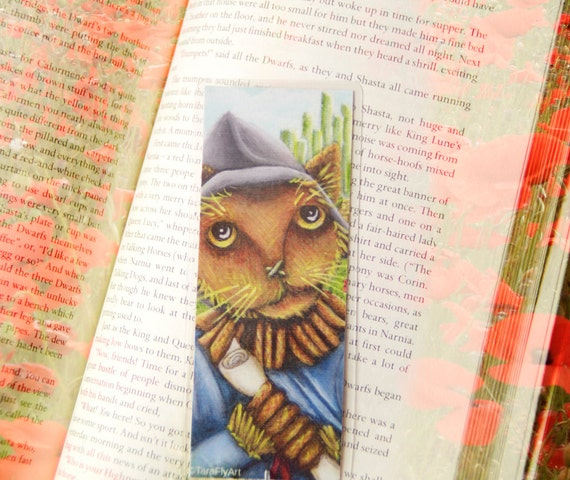Scarecrow Cat Bookmark Straw Cat Wizard of Oz Inspired Cat Bookmark
