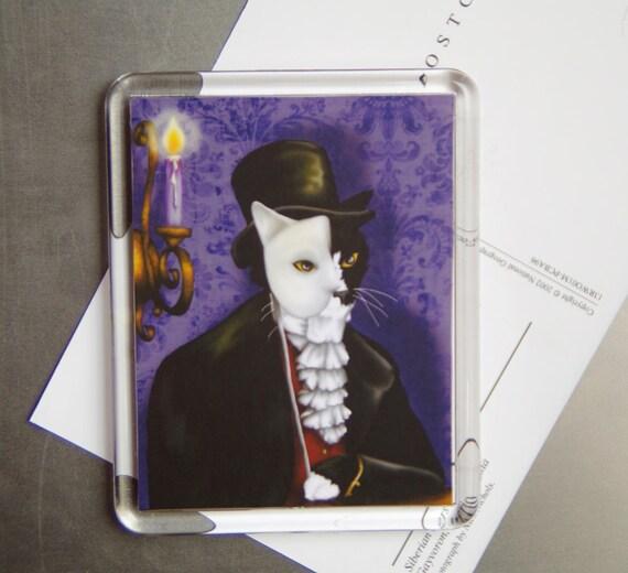 Phantom Cat Magnet, Tuxedo Cat Wearing Mask, Cat Art Refrigerator Magnet