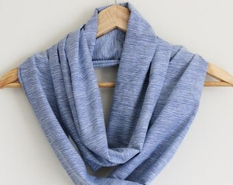 READY TO SHIP - Upcycled Infinity Scarf - Great Gift - Lightweight Cotton - Summer Scarf - Blue Stripes