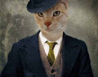 Cat Print Animal Photography Pet Portrait Cat Art Fedora Ginger Orange Print - Detective Roscoe