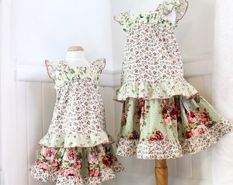 Boutique Girl Clothing Size 5 Girls Outfit RTS Cotton Girl Clothes Size 5 Boho Childrens Clothing Rose Twirl Skirt  & Flutter Sleeve Top Set