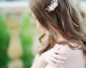 Pearl hair comb, pearl headpiece, crystal headpiece, bridal, gold comb - style 1107