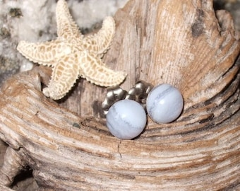 6mm Blue Lace Agate Delicate Baby Blue Titanium Studs Earrings Earings Hypo Allergenic Made in Newfoundland Chakra