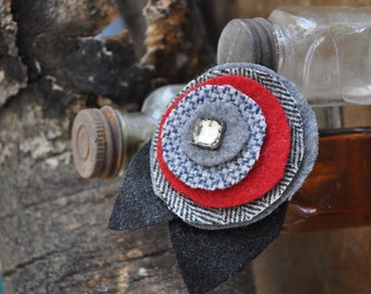 UPcycled Wool Felt Flower Brooch with Vintage Glass Button - Black, Red and Herringbone