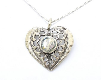 Silver heart necklace with roman glass